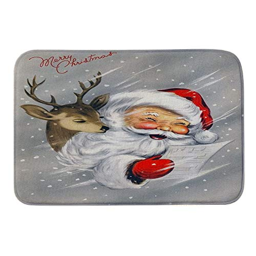 Mitlfuny Schmutzfangmatte FußMatte Aussen Innenbereich Bodenschutzmatte Teppich - Frohe Weihnachten Willkommen FußMatten Indoor Home Teppiche Decor