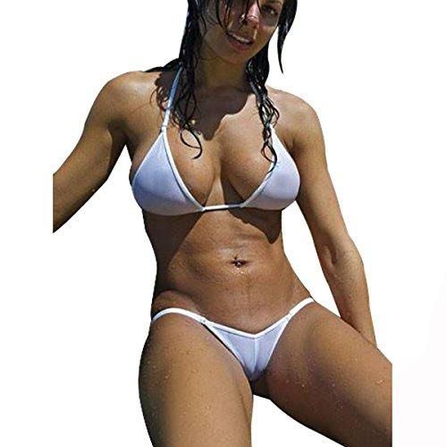 Thong Xl Bikini (Sherrylo Transparent Mesh Bikinis Set See-Through Swimsuit (White, XL))