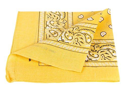 Bandana gialla paisley multifunzione classica BA-91 di colori diversi foulard scialle collo rocker biker motociclista motorcycle pirata accessorio hip hop cappellino cowboy bracciale