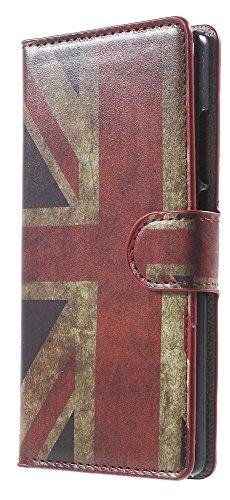 [A4E] Handyhülle passend für Huawei Ascend P8 (P8) Kunstleder Tasche, seitlicher Magnetverschluss, Kreditkartenfächer, Ständerfunktion mit retro Union Jack UK Flagge (rot, weiß, blau, schwarz, gelb)
