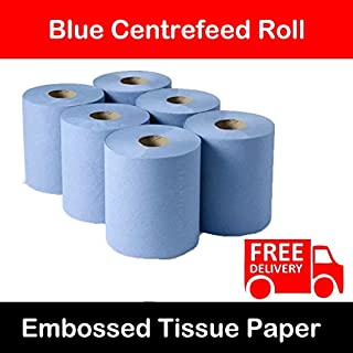 6 Rolls Of 2ply Blue Centrefeed Paper Tissue Paper Rolls Brand New For Home Office Warehouse Bathroom Kitchen