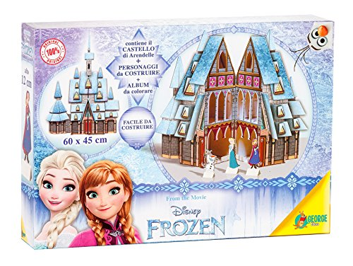 Disney Premium Box Frozen 1 Castello e 1 Slitta da Montare/2 Sagome/2 Poster di Cui 1 da Colorare/1 Set Mini Colori, Assortito, 7864
