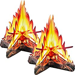 12 Pouces de Hauteur Feu Artificiel Papier de Flamme Fausse 3D Torche de Flamme au Centre de Feu de Camp en Carton Décoratif pour Décorations de Fête de Feu de Camp (2 Jeux Style B)