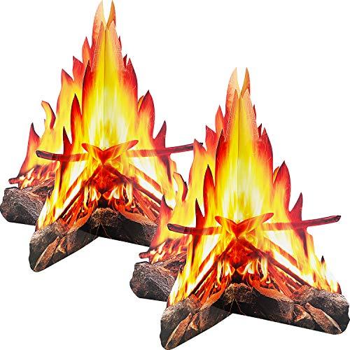 Tatuo 12 Zoll Hohe Künstliche Feuer Gefälschte Flamme Papier 3D Dekorative Pappe Lagerfeuermittelstück Flamme Fackel für Lagerfeuer Partydekorationen (2 Set Stil B)
