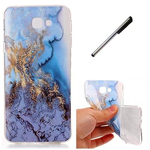Coque Samsung J7 prime marbre TPU ultra-mince transparente silicone souple Coquille.DECHYI.- blue Sea+ Stylus capacitif