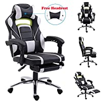 EUCO Gaming Chair,Racing Style Reclining Computer Chair with Retractible Footrest Comfy Executive Office Chair High Back PC Chair Swivel Desk Chair with Adjustable Headrest and Lumbar Support