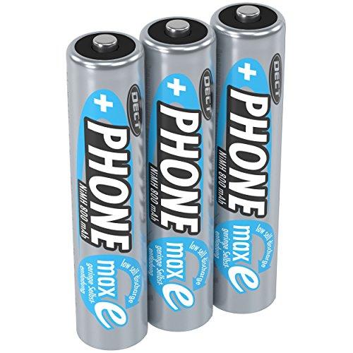 ANSMANN Akku AAA Micro 800mAh 1,2V NiMH für Schnurlostelefon 3 Stück - Wiederaufladbare Batterien mit geringer Selbstentladung maxE - Akkus ideal für schnurloses Telefon DECT - Rechargeable Battery