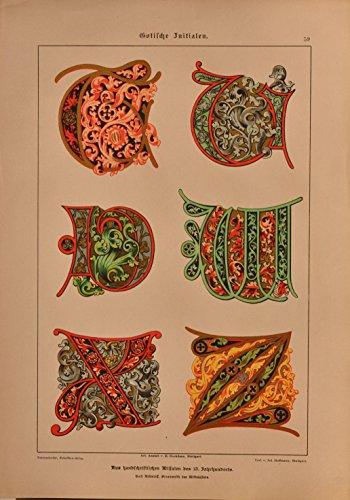 Schriftenatlas: Tafel 59 - Gotische Initialen 13. Jahrhundert, Teil 4 (farbige Lithographie mit...