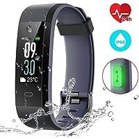 Montre Connectée, Adorishe Bracelet Connectée Écran Couleur Fitness Tracker d'Activité avec Moniteur de Fréquence IP68 étanche Cardiofréquencemètre pour iPhone Samsung Huawei Android iOS Smartphone