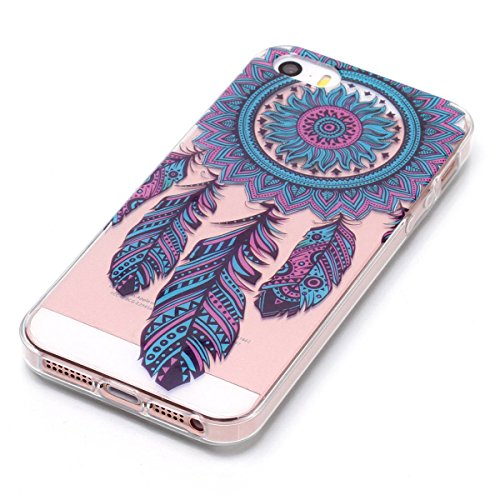 Cover iPhone 5/5S/SE, GrandEver Morbida Trasparente Ultra Slim Gel Silicone TPU Custodia Protettiva Back Shell Case per iPhone 5/5S/SE - Donuts Chimica del vento