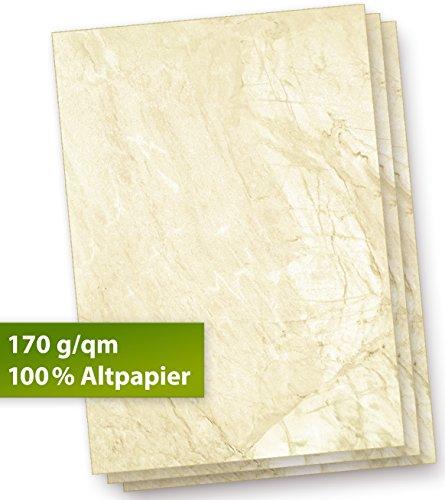 Karton Marmor A4 (100 Stück) 170 g/qm dickes Briefpapier alt braun strukturiert