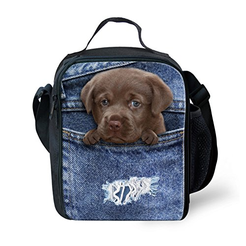 showudesigns blau Tier Katze Hund Face Lunchtasche mit Seite Wasser Flasche Tasche, color 2, S