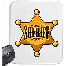 """Mousepad alfombrilla de ratón """"Sheriff del vaquero WESTERN INDIAN SALÓN DE POLICÍA El jefe de policía rojo occidental indio INDIOS"""" para su portátil, ordenador portátil o PC de Internet .. (con Windows Linux, etc.) en White"""