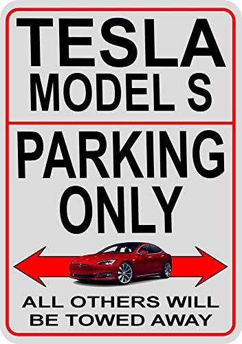 PotteLove Tesla Model S Parking Only Metallschild 20,3 x 30,5 cm