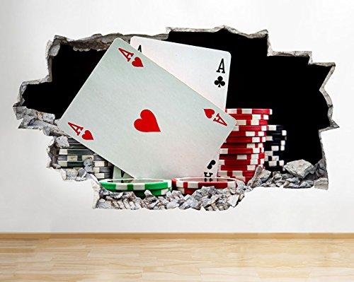 ker Chips Spielkarten zerstörten Wand Aufkleber 3D Kunst Aufkleber Vinyl Raum ()