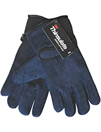 Ladies' Thermal Thinsulate Polar Fleece Winter Gloves with Velcro Strap (Navy Blue)