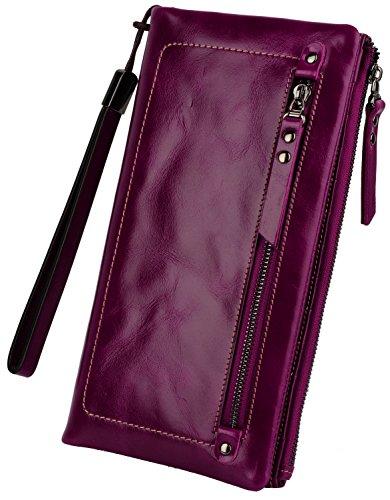 Yaluxe Donna grande Capacity morbido Pelle Clutch Borsa con Wrist nastro di usura Purple