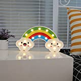Super Qute Rainbow LED Night Lamps, Battery Operated Rainbow shaped Letter Marquee Sign, Children Kids Table Night Light, Bedroom Decoration Kids Gift Mood Lighting