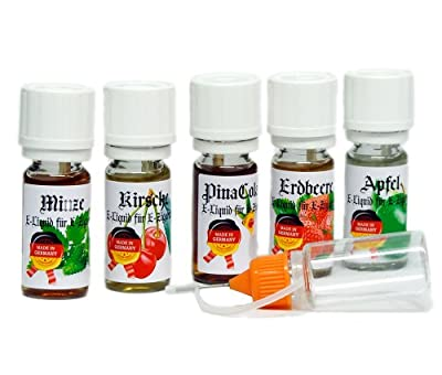 5 x 10ml VanAnderen® VA2 PREMIUM E-Liquid + Nadelcapflasche -Minze, Kirsche, PinaColada, Erdbeere, Apfel - mit Nikotin 0,0mg - Einführungsangebot von ReiTrade
