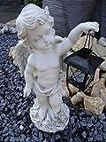 Tourwell Vertrieb Engel Dekofigur Garten Statue Gartenfigur Engelchen mit Windlicht Engel Skulptur - handgefertigte und handbemalte Engel Figuren für den Garten mit Windlicht aus Metall (1re)