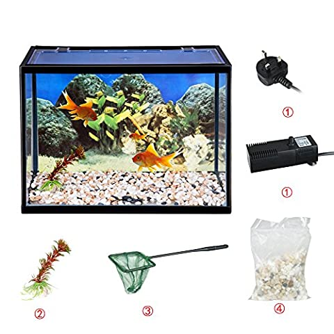 Tuff Concepts 18 Litre Glass Aquarium Fish Tank Starter Kit Set Filter Pump Net Plant Stones