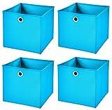 CM3 4 Stück Türkis Faltbox 28 x 28 x 28 cm Aufbewahrungsbox Faltbar