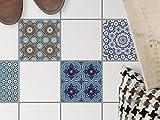 Fliesen Sticker für Boden Fliesen | Aufkleber Folie Sticker für Boden-Fliesen - Küche Oder Bad | Fliesenaufkleber als Alternative zu Fliesenfarbe | 15x15 cm - Design Orientalisches Mosaik
