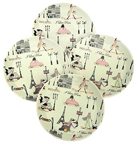 Boston International J'Aime Paris Round Ceramic Plates, 6-Inch, Mint Green,