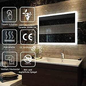 Badspiegel Lichtspiegel Spiegel Wandspiegel mit LED Beleuchtung 80 x 60 cm Badspiegel Lichtspiegel mit Touchschalter und beschlagfrei IP44 energiesparend - Kaltweiß