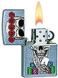 Zippo Unisex Lucky Skull Regular Winddicht Feuerzeug, Street Chrome, one Size