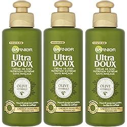 Garnier Ultra Doux Olive Mythique - Crème de soin sans rinçage Nutrition Extrême - Lot de 3