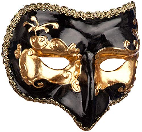 Mens Black And Gold Venetian Eye Mask Masquerade Ball Mardi Gras Carnival New Years Fancy Dress Costume Outfit Accessory (Mardi Outfits Gra)
