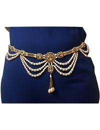 Womensky Gold Polished Pearl Kamarpatta for Women