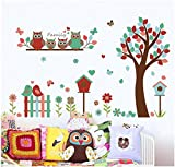 HALLOBO Wandtattoo Eulenbaum Baum Eulen Eule Vogel Wandaufkleber Wandsticker Kinderzimmer Kinder baby