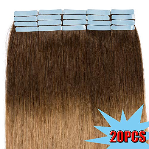Extension biadesivo capelli veri ombre 45cm 2.5g/fascia 20pcs - remy human hair tape lisci(18