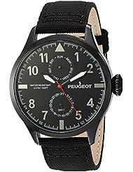 Peugeot Hombre Negro Nylon Día Fecha Calendario Aviator Reloj