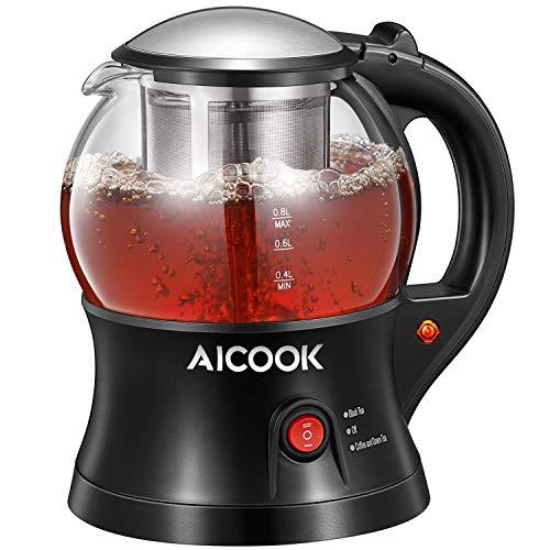 Bollitore elettrico aicook, bollitore elettrico per tè con infusore per il tè, piccola teiera elettrica in vetro senza fili, caldo, spegnimento automatico e protezione a secco, senza bpa