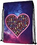 Zeig Herz! Trendy Galaxy-Heart Turnbeutel mit farbenfrohem Emoji-Print | Sport | Turn | Training | Gym | Rucksack | Tasche | Bag | Beutel | Sack