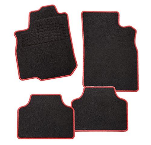 Konzepte Roten Teppich (CarFashion Calypso Rot C03, Auto Fussmatte in schwarz, vorne und hinten, ohne Mattenhalter)