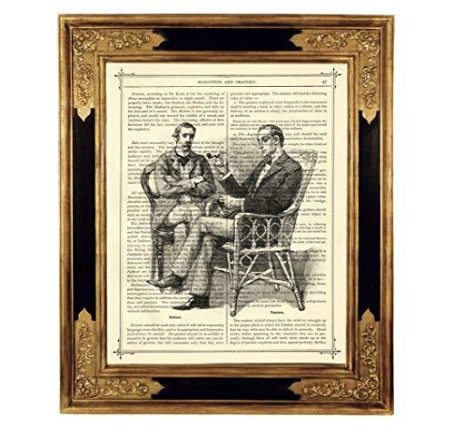 Sherlock Holmes Dr. John Watson Freundschaft Pfeife Druck Kunstdruck auf antiker Buchseite Geschenk Geburtstag Freunde Steampunk ungerahmt -