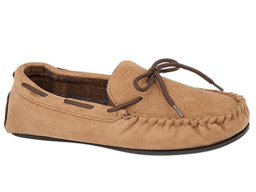 Mocassini da uomo modello New Hampshire in simil pelle scamosciata, foderati di pelliccia, scarpe disponibili nei numeri dal 40,5 al 47 Tan