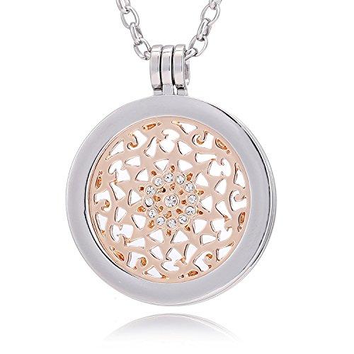 Morella® Damen Halskette 70 cm Edelstahl und Anhänger mit Coin Sonnenornament rosegold 33 mm im Schmuckbeutel