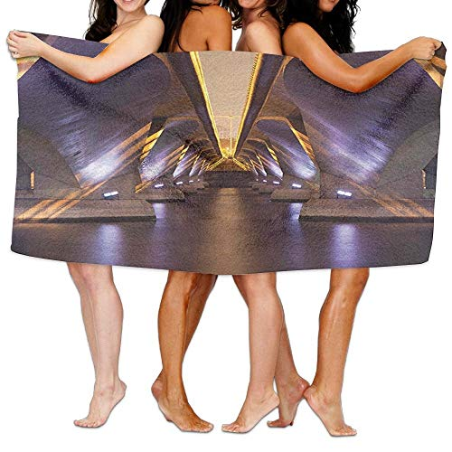 VTXWL Ancient Sci Fi Style Asian Ethnic Modern Road Tunnel Urban Light Show City Soft Absorbent Beach Towel Pool Towel 30x50
