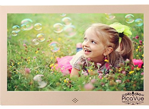 PicaVue Ultra Slim 15 Inches Digital Photo Frame High Resolution with Motion Sensor, SD/USB, Plays Photo Slideshow, Video, Audio, Luxury Gold