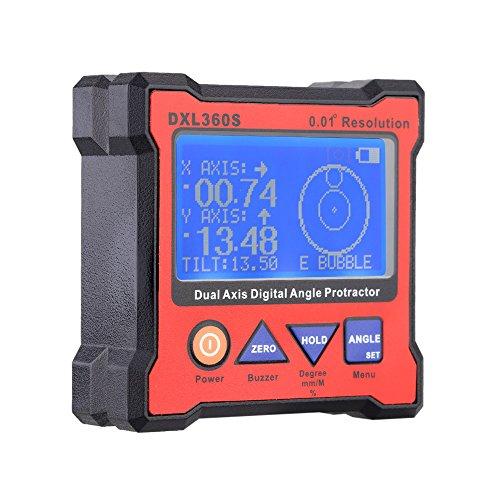 KKmoon DXL360S doppio asse angolo digitale goniometro con 5 lato indicatore di livello magnetico Base (Livello Magnetico Indicatore)