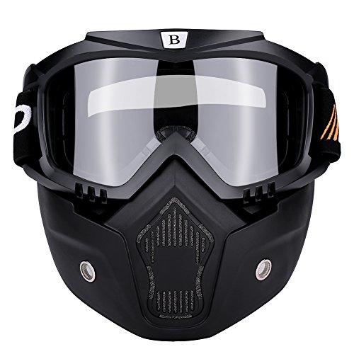 Qiilu Motorrad Motocross Radfahren Schutzbrille mit abnehmbaren Anti Fog Schutzbrille Motorradbrillen(schwarz weiß)