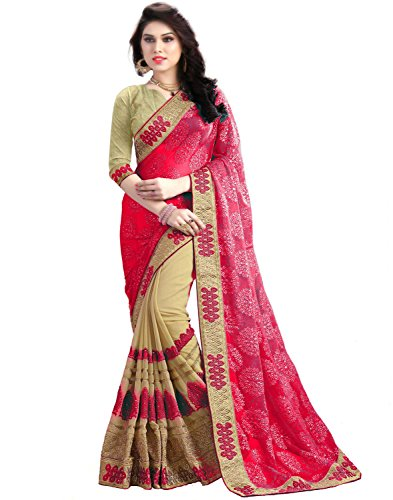 SareeShop Women's Georgette party wear Fancy Saree With Blouse Piece (1126GAJRI-sarees for...