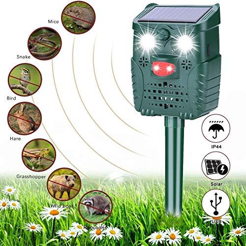 Sinicyder Solar Katzenschreck Ultraschall, Wasserdichter Tiervertreiber Repeller, Ultraschall/Blinklicht/Sound/Solar/USB Powered Cat Repellent, 4 Modus Einstellbar für Katzen, Vögel, Schädlinge