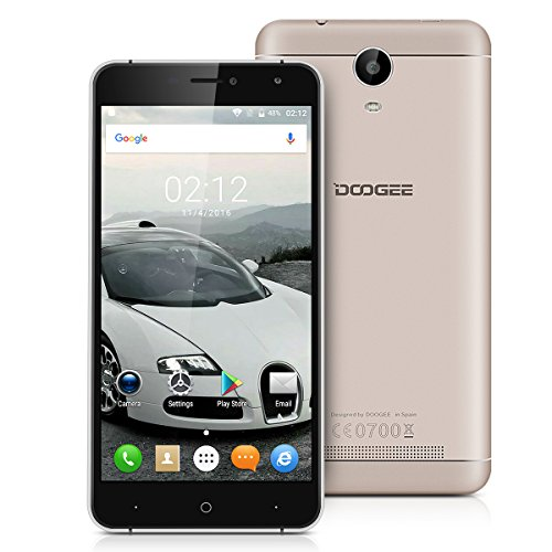"""Doogee X7 Pro Unlocked 4G Smartphone, 6.0"""" Supersized Android 6.0 Marshmallow MTK6737 Quad Core 2GB RAM + 16GB ROM Dual Sim Card Mobile Phone with Dual Camera(8.0/5.0MP) WiFi, GPS, FM, Bluetooth, Smart wake, OTA, GoVR Player SIM-free Cell Phone (Gold) - Christmas Thanksgiving Gift"""