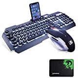 UrChoiceLtd® Technology Keyboard Mouse Combo Gamer Wired White LED Backlit Punk Keycap Gaming